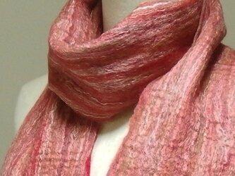 メリノシルク 赤系ほわほわフェルトマフラーの画像