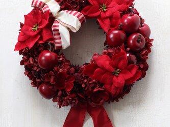 プリザーブドフラワーの真っ赤なクリスマスリースの画像