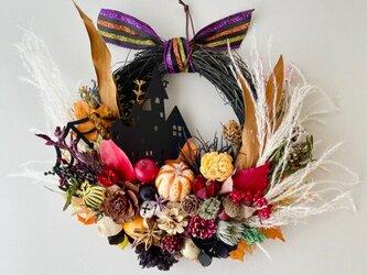 Halloween blackcastle wreathの画像