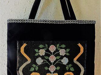 ビーズ織シート付きのトートバッグ(黒) の画像