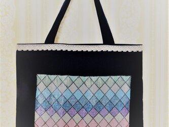 ビーズ織シート付きのトートバッグ(紺)の画像