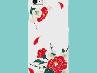 あんみつ娘♡スマホケース♡着物に♡椿と梅 (巻き込みデザイン)iPhone7 Plus   和柄 和小物 手描き風 着物の画像