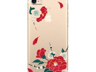 あんみつ娘♡スマホケース♡着物に♡椿と梅 (背景透明バージョン)iPhone7 Plus   和柄 和小物 手描き風 着物の画像