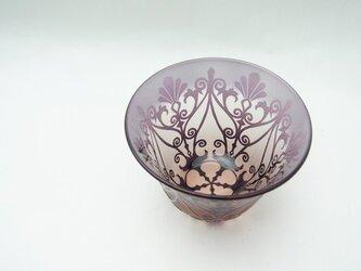 ◆ガラスのぐい呑み◆◆ポルトフルール◆ピンク×紫 ~IONWORK ~の画像