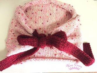 リボン結びのマフラー ピンクの画像