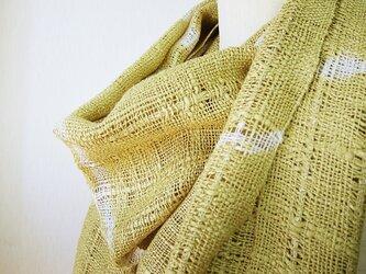 ☆セール第二弾☆ 草木染め 手織り シルクマフラー(若草色)の画像