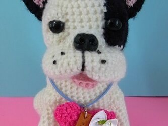 フレンチブルドッグの編みぐるみの画像