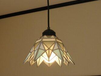 ペンダントライト プリズム・ホワイト(ステンドグラス)天井のおしゃれガラス照明 Lサイズ・7  の画像