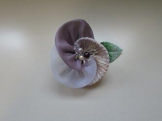 布花のブローチー6の画像