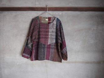 手織り/wool sweater ▽黒地 шカラフル (+orimi)の画像