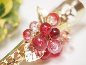 お花のヘアクリップ 小 透明ピンクの画像