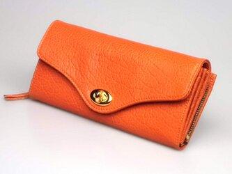 大容量のロングウォレット --- シンプルな革の長財布 [オレンジ]の画像