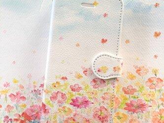 お花畑 スマホケース 手帳型 【受注生産】アンドロイド iPhoneの画像