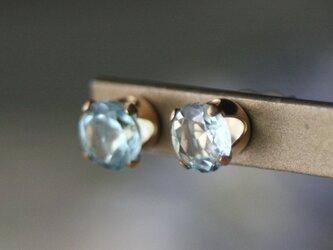 【大粒☆14kgf】宝石質天然石ピアス スカイブルートパーズの画像