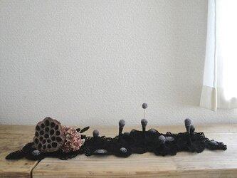 かぎ編みの立体ドイリー〈黒グラデーション〉の画像