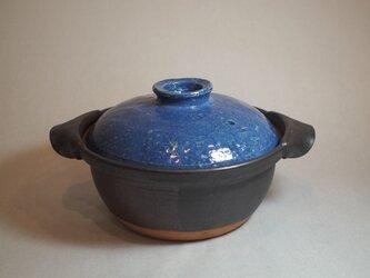【送料無料】 たっぷり大きめの土鍋で 土鍋パーティー☆彡ブルーの蓋 土鍋の画像