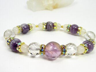 ライトカラーアメトリンと2月誕生石アメジスト☆紫で彩るブレス607-02の画像