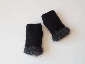 フェルディングゆびなしミトン  ノアール  指なし手袋の画像