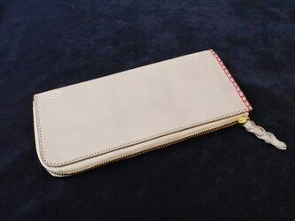 <革と糸が選べる>オーダーメイドのL字ファスナースリム長財布の画像
