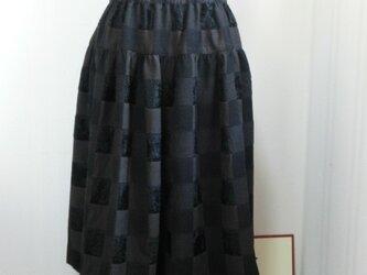 格子柄のギャザースカートの画像
