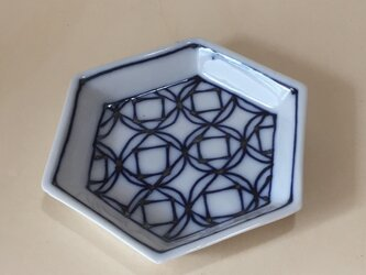 Z207 磁器染付六角小皿の画像