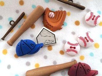 アメリカ ボタンガローア11個-野球セット B-0726の画像