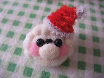 羊毛フェルト サンタトイプードルブローチ☆の画像