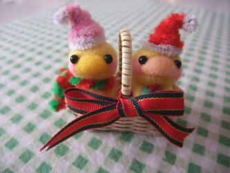 羊毛フェルト サンタ鳥ちゃん2点セット☆(かご付き)の画像