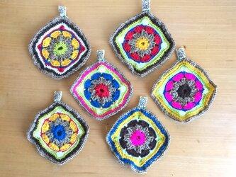手編みコースター 2枚セットの画像