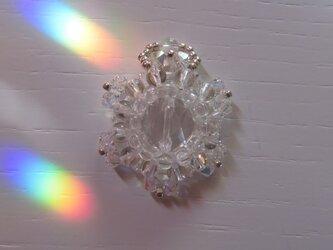 クリスタルクォーツ(天然水晶)・花型ペンダントトップD(ptsscq01)の画像