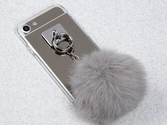 ファー&ミラー リング取り外し可能 iPhoneケースの画像