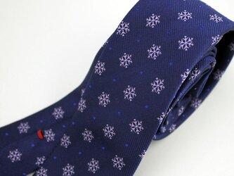 【受注制作】雪の結晶柄/ハンドメイドネクタイの画像