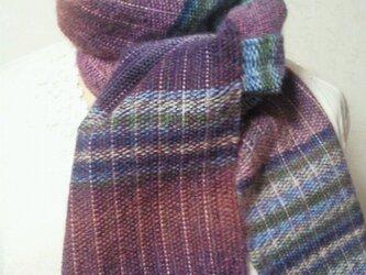 虹色グラデーション♪手織りマフラーの画像