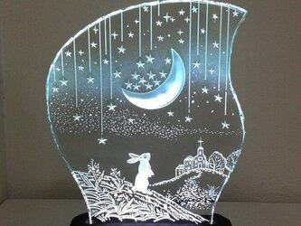 星降る夜・ウサギ ガラスエッチングパネル Mサイズ・LEDスタンドセットの画像