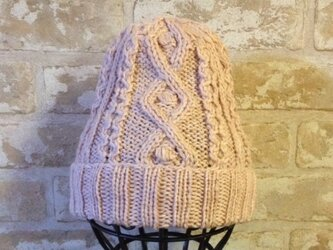 【受注後製作】ニット帽アルパカ×ラムウール淡いピンク系 の画像