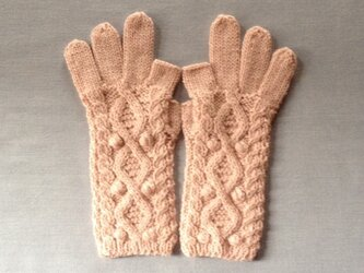 【受注後製作】手袋アルパカ×ラムウール淡いピンク系の画像