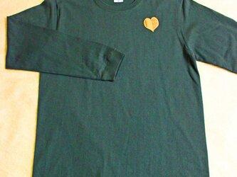 「博多ハート」長袖綿Tシャツ L ユニセックス グリーン×イエロー(LT-10)の画像