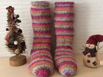 クリスマスにあったかいプレゼント毛糸の靴下の画像