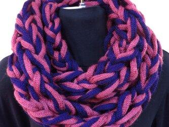 機械編み+手編み:スヌード ピンク+青紫の画像