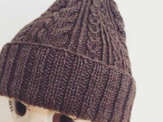 洗濯機で洗えるアラン模様のニット帽【杢ブラウン】の画像