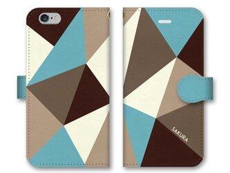 手帳型 三角 模様のスマホケース トライアングル ブラウン×ターコイズの画像