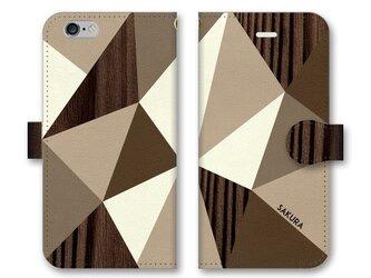 手帳型 三角 模様のスマホケース トライアングル 木目調×ブラウンの画像