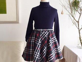 [ 受注生産 ]あったかフレアースカート タータンチェック(グレー×赤)の画像