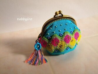 ビーズ編みがま口-レトロモダンの画像