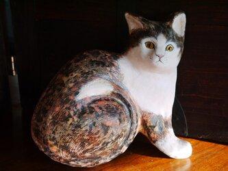 レリーフ  キジ白猫  SALEの画像