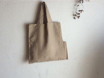 送料無料 草木染め 麻とオーガニックコットンのかばん(変形)の画像