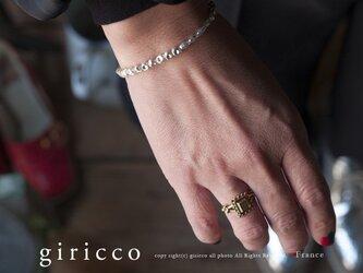 フランス製の珍しいラインとカットの入ったシルバースフレガラスのハーフブレスレット(TJ10899)の画像
