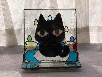 トレイ ( 小皿 ) 付きステンドグラススタンド 雨の日の画像