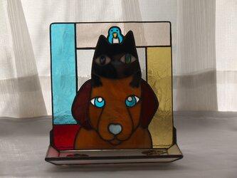 トレイ ( 小皿 ) 付きステンドグラススタンド ボクが守るよ みんな仲良しの画像