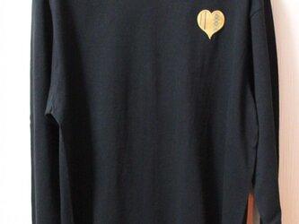 「博多ハート」長袖綿Tシャツ L ユニセックス ブラック×イエロー(LT-12)の画像